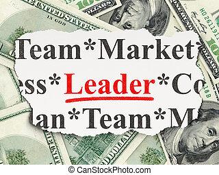 rasgado, jornal, com, palavras, líder, ligado, dinheiro, fundo