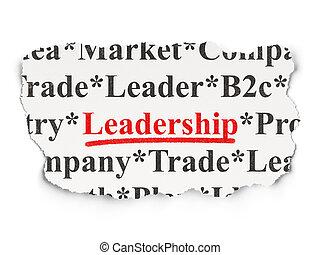 rasgado, jornal, com, palavras, liderança, experiência