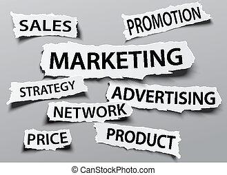 rasgado, jornal, marketing, conceito
