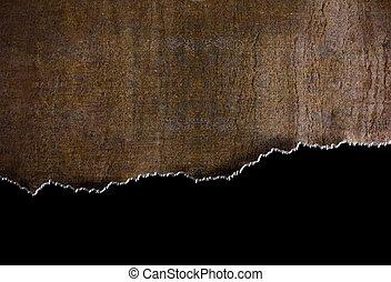 rasgado, metal, rasgón, bordes, plano de fondo, oxidación