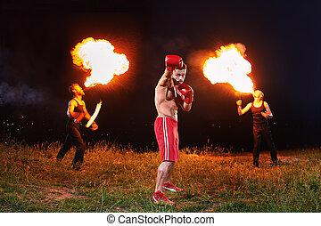 rasgado, mostrar, fogo, ao ar livre, pugilista, posar, noturna, desempenho, macho
