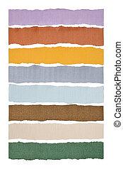 rasgado, papelão, multi-colorido