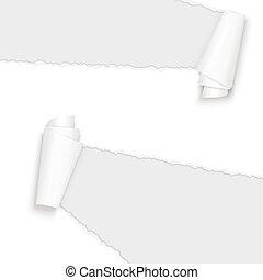 rasgado, papel, abierto, blanco