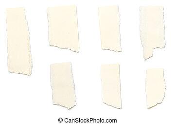 rasgado, papel, aislado, amarillo, pedazos, blanco