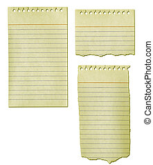 rasgado, papel, cobrança, antigas, notepad