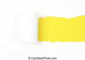 rasgado, papel, com, amarela, espaço cópia