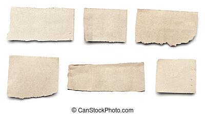 rasgado, papel, fundo, notícia, mensagem, branca