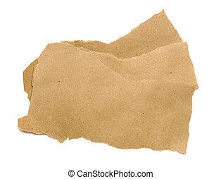rasgado, papel marrón, aislado, blanco, fondo.
