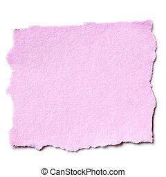 rasgado, papel rosa, aislado