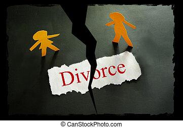rasgado, pedazo de papel, con, divorcio, texto, y, papel,...