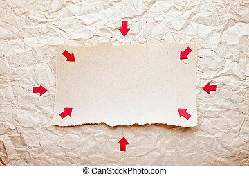 rasgado, pedazo de papel, con, rojo, flechas, en, viejo, aplastado, papel, fondo., vendimia, retro, tarjeta