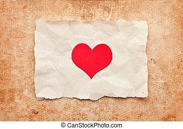 rasgado, pedazo de papel, en, grunge, papel, fondo., vendimia, retro, card., día de valentín