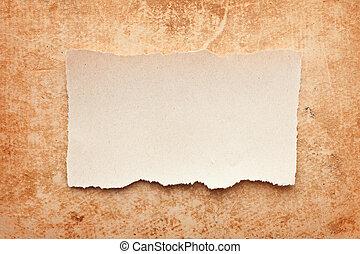 rasgado, pedazo de papel, en, grunge, papel, fondo., vendimia, retro, tarjeta