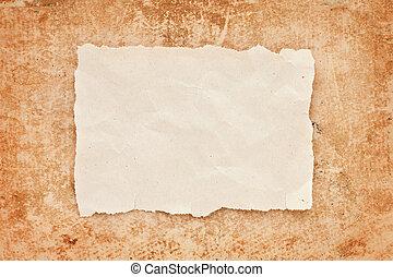 rasgado, pedazo, de, viejo, papel, en, grunge, papel, fondo., vendimia, retro, tarjeta