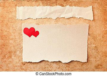 rasgado, pedazos, de, papel, en, grunge, papel, fondo., adore carta
