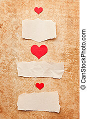 rasgado, pedazos, de, papel, en, grunge, papel, fondo., amor, letter.valentine's, día