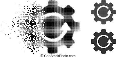 rasgado, pixel, halftone, engrenagem, rotação, ícone