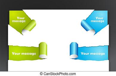 rasgado, próprio, jogo, text., papel, lugar, seu