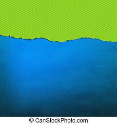 rasgado, textura, azul, papel, verde
