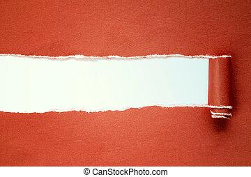 rasgado, vermelho, papel, com, copy-space.