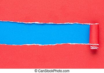 rasgado, vermelho, papel, ligado, com, azul, copy-space