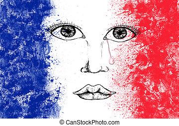 rasgar la gota, humano, francés, cara