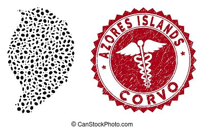 rasguñado, isla, mosaico, corvo, mapa, sello, caduceo