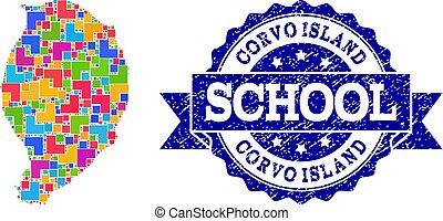 rasguñado, mapa, escuela, corvo, isla, sello, composición, mosaico