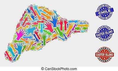 rasguñado, mapa, isla, hechaa mano, mano, sellos, pascua,...