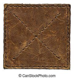 rasguñado, marrón, cuero, remiendo, bordes, stiched