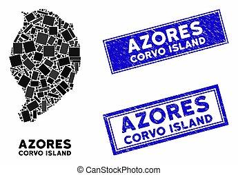 rasguñado, sellos, isla, mosaico, rectángulo, mapa, corvo