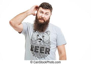 rasguño, barbudo, confuso, cabeza, pensativo, hombre, el ...