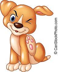rasguño, bebé, perro, picazón, caricatura