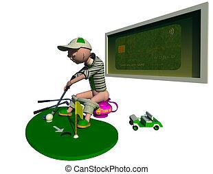 rasguño, golfista, de arranque
