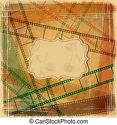 rasguño, plano de fondo, película, frame., vendimia