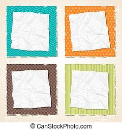 rasguño, rasgado, textura, papel, fondo., vector, vendimia