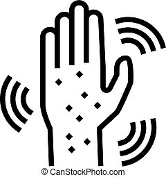 rash hand line icon vector illustration