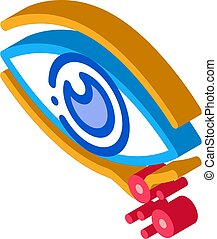 rash near eye isometric icon vector illustration