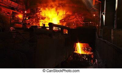 Raskalennyj metal in domennom guild - Hot steel pouring in...