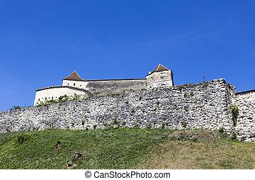 Rasnov fortress in a sunny spring day