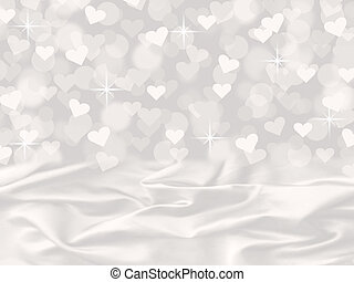 raso bianco, cuore, bokeh, valentina