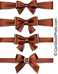 raso, bows., ribbons., marrón, regalo