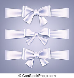 raso, bows., ribbons., regalo, bianco