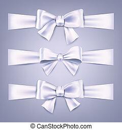 raso, bows., ribbons., regalo, blanco
