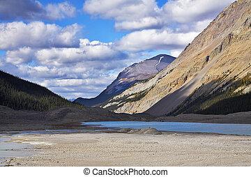 raso, lago, em, montanhas, de, canadá
