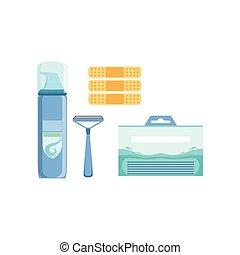 rasoir, ensemble, mousse, dermatological, problèmes,...