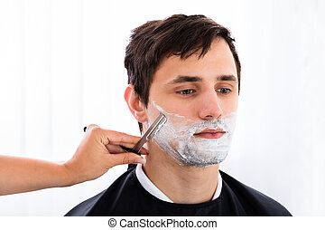 rasoir barbe directement coiffeur homme rasage rasoir image de stock recherchez. Black Bedroom Furniture Sets. Home Design Ideas