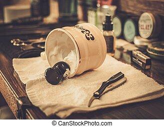 raspar, acessórios, em, loja barbeiro