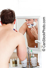 raspar, banheiro, homem, caucasiano, bonito