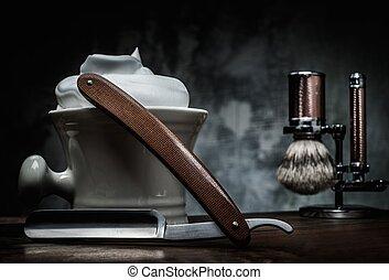 raspar, navalhas, e, tigela, com, espuma, ligado, madeira,...